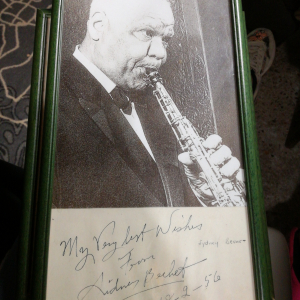 Photo signée Sidney Bechet 18.2.56